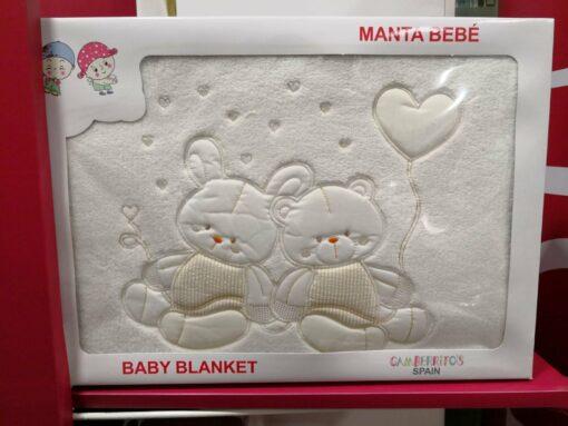Manta Bebé Coralina Ositos Blanca